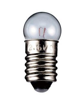 Kugelförmige Lampe Sockel E10 2,5 Volt 0,70 Watt 24mm klar,10er Pack