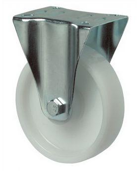 Bockrolle D.150mm Trgf.300kg Ku.-Rad weiß Platte 135x110mm