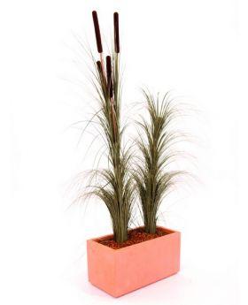 Schilfgras Khaki 127cm, Kunstpflanze