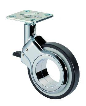 Design-Lenkrolle mit Feststeller Ø75mm, schwarz, Gewindestift: 10x15mm, 50kg