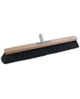 Besen Qualitätsmischung PVC L. 600mm mit Metallstielhalter Flachholz